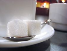 Two Pieces Of Sugar Royalty Free Stock Photography