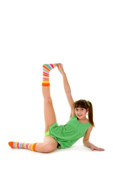 Happy Girl Making Gymnastics Exercises Royalty Free Stock Photo