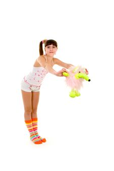 Free Happy Girl With Toy Royalty Free Stock Photography - 4661917