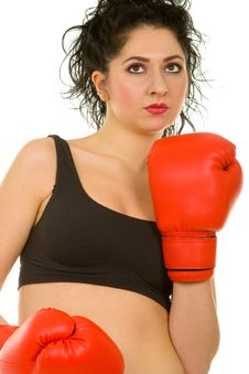 Free Pretty Woman With Red Boxing Gloves Royalty Free Stock Image - 4662116