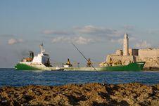Cargo Ship Entering The Bay Stock Photography