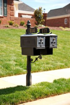Two Mailboxes On Roadside. Stock Images