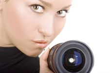 Free Brunette With Lens Stock Photo - 4663310