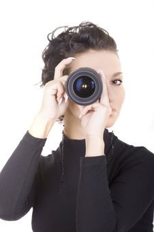 Free Brunette With Lens Royalty Free Stock Photo - 4663355