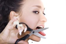 Free Brunette And Scissors Stock Images - 4663404