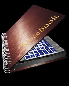 The Note Book With The Keyboard On A Black Background Stock Photos