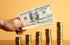 Free Gold Coins And Dollars Royalty Free Stock Photography - 4664497