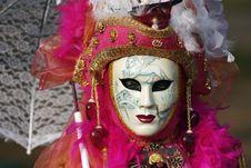 Venetian Mask With Umbrella Royalty Free Stock Photo