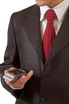 Free Business Man Holding A Mobile Phone Royalty Free Stock Photos - 4666028