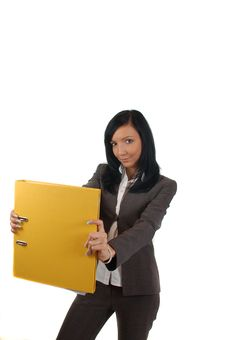 Free Business Women With File At Office Royalty Free Stock Photo - 4666165