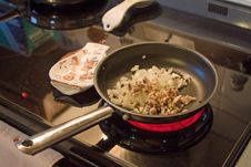 Cooking - Onions And Mushrooms Royalty Free Stock Photography