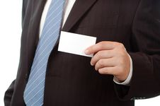 Free Business Man Showing A Business Card Royalty Free Stock Images - 4666559