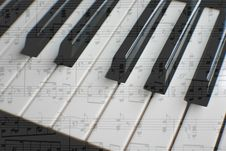 Free Piano With Sheet Music Stock Photography - 4667392