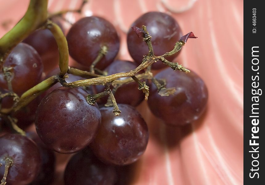 Macro close-up of red vine grapes