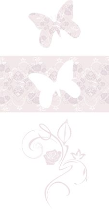 Stylized Butterfly And Ornamental Border. Decorative Element Stock Photos