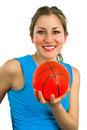 Free Smiling Lady With Red Ball Royalty Free Stock Photo - 4679135