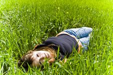 Free Smiling Beauty On Grass Stock Image - 4670131