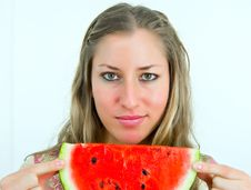Free Lovely Girl With Water-melon Royalty Free Stock Photography - 4670377
