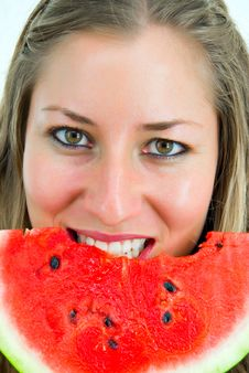 Free Portrait Of A Smiling Girl Eating A Water-melon Royalty Free Stock Photo - 4670385