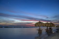 Free Umbrellas In The Ocean At Sunset Royalty Free Stock Photos - 4673048