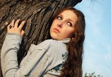 Free Girl Near The Tree Royalty Free Stock Images - 4673369