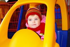 Little Girl In The Carriage  In A Supermarket Stock Photos