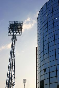 Floodlights Against Royalty Free Stock Photography