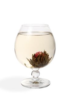 Free Glass With A Flower Green Tea Stock Image - 4674901