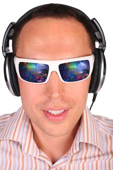 Free Young Man With Sunglasses And Headphones Stock Photo - 4674980