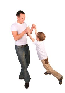 Father With Son Playing