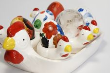 Delft-ware Chickens With Easter Eggs Royalty Free Stock Photo