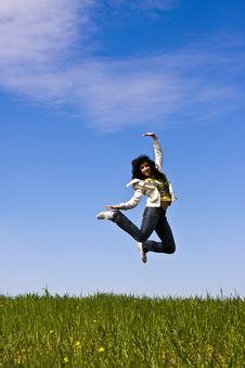 Free Jumping Woman Royalty Free Stock Photo - 4676935