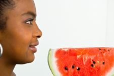 Free Girl With A Red Juicy Wate-melon Royalty Free Stock Photography - 4677017