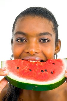 Free African Girl Eating A Water-melon Stock Photos - 4677043