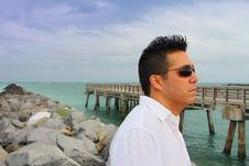 Free Man By A Pier Royalty Free Stock Photography - 4677297