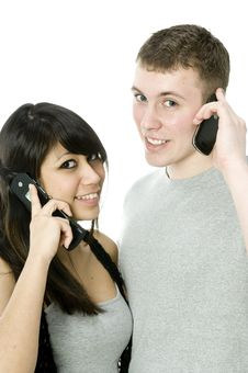 Couple On The Phone Stock Photography