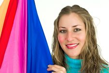 Free Joyfully Smiling Woman With A Flag Stock Images - 4679114