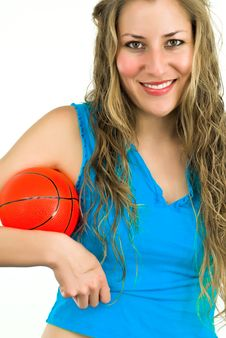 Free Smiling Lady In Blue With A Red Ball Royalty Free Stock Image - 4679116