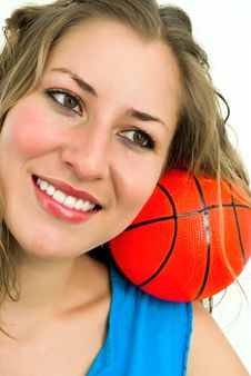 Free Lady In Blue With A  Red Ball Stock Photography - 4679122
