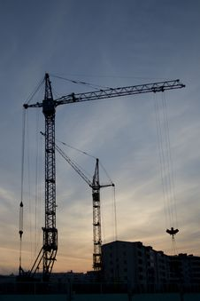 Free Silhouette Of The Crane Royalty Free Stock Photos - 4680248