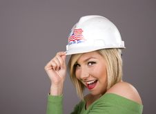Free Blonde Tipping Hard Hat Royalty Free Stock Photo - 4682285