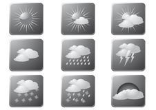 Weather Buttons Gray Royalty Free Stock Photos