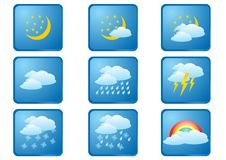 Weather Buttons Night Stock Images