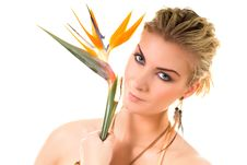 Free Woman With Bird Of Paradise Stock Image - 4683661