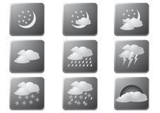 Weather Buttons Night Gray Stock Photo