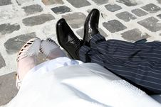 Bride And Groom Feets Stock Photo