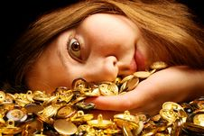 Free Gold Buttons And Girl Stock Photography - 4684472