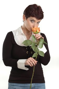 Free Business Woman Smells A Rose Stock Photos - 4685993