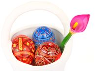 Free Three Easter Eggs And Violet Orchid In White Baske Royalty Free Stock Image - 4686216