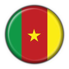 Cameroon American Button Round Flag Royalty Free Stock Photography
